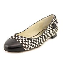 """Michael Kors Dion Houndstooth Haircalf Ballet SS3-Translate your look with a sleek, exotic piece, the Dion Ballet! Easy slip-on wear. Feature a Suede upper with a Round Toe, buckle hardware and plaque at heel, leather lining, lightly padded leather footbed, stacked heel, synthetic outsole The Rubber outsole lends lasting traction and wear. Size: 8M Color:  Blk/Wht Measurements: 0.5"""" heel˙ Michael Kors Shoes Flats & Loafers"""