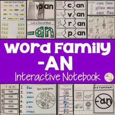 This is a Word Family Interactive Notebook to help students practice and learn CVC words and word families. There are 22 different activities for the word family -an to help your students master the word family. You may choose which activities are best for your students. The activities include: - Sort by word family - Word Family Word Search - ABC Order - Roll, Write, Graph - Spin, Write, Graph - Real & Not Real Pockets - Building Words - Highlight then Trace - Color the Pictures - Decorate