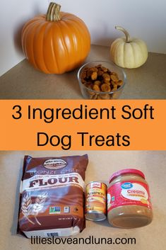 Easy to make 3 ingredient dog treats. These peanut butter and pumpkin dog treats are great for dog training. Dog Biscuit Recipes, Dog Treat Recipes, Dog Food Recipes, 3 Ingredient Dog Treats, Soft Dog Treats, Peanut Butter Dog Treats, Pumpkin Dog Treats, Dog Biscuits, Canned Pumpkin