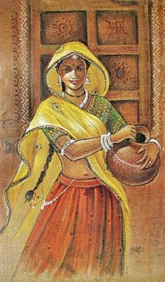 If you are already intrigued by this form of art and wish to dig deeper into it, then there is good news for you- here we have some examples of Brilliant Traditional Indian Art Paintings for you. Rajasthani Painting, Rajasthani Art, Indian Women Painting, Indian Art Paintings, Indiana, India Painting, Art Village, Indian Folk Art, Modern Indian Art