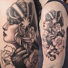 Image result for neo traditional black and grey gypsy