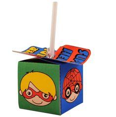 Superhelden lolly doosje. http://printpret.nl/Superheld%20feestpakket