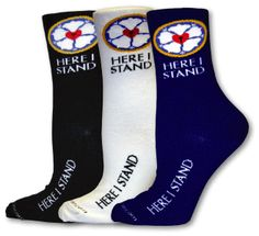 Here I stand socks from old lutheran | The Old Lutheran Gift Shop is selling socks embroidered with the Luther Rose