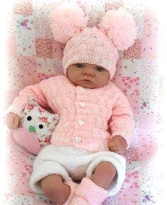 DK baby knitting pattern instructions girls cardigan hat booties set easy sophie | eBay