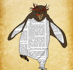 Penguin+art+print+poster+illustration+13x19+by+OrangeOptimist,+$49.00