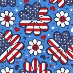 Holiday Inspirations Patriotic Fabric- Flower Power Stars 2