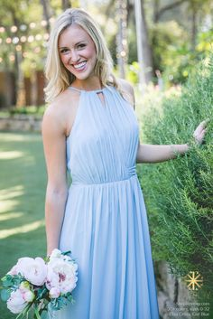 Revelry - Eliza Dress, $175.00 The Eliza dress ties around the neck and wraps around the waist with a sash that can be tied in the front or back.  100% poly chiffon, double lined.(http://wedding.shoprevelry.com/eliza-dress/)