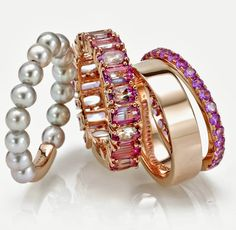 Rings from PORRATI with white pearls and rose gold; with pink sapphires set on rose gold; a rose gold ring; and a thin rose gold band set with pink sapphires.   Jewelry News Network