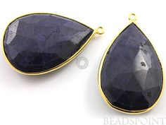 Natural Blue Sapphire Bezel Pear Shape Gemstone by Beadspoint, $123.99