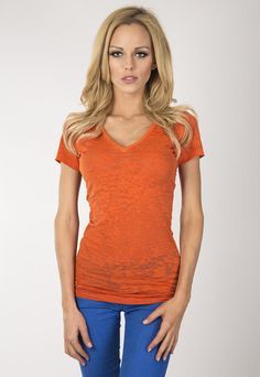 """Ladies burnout V-Neck short sleeve.  www.jsapparel.net Enter special code """" JSFRIENDS """" and get 20% off on purchase. Limited time only. All JS product made in USA."""