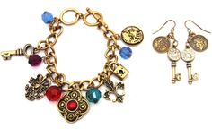 Fleur De Lis Charm Bracelet + Earrings set Antique Gold-tone Rhinestone Bead Key #Unbranded #CharmToggle