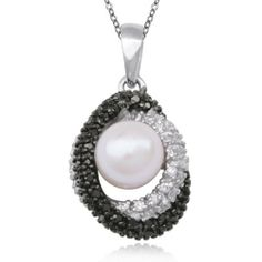 "Sterling Silver Black and White Diamond Oval with Pearl Pendant Necklace , 18"" Amazon Curated Collection. $36.00. Made in China. The natural properties and composition of mined gemstones define the unique beauty of each piece. The image may show slight differences to the actual stone in color and texture.. Gemstones are lab created. Gemstones may have been treated to improve their appearance or durability and may require special care"