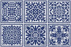 More square tiles - Chart for cross stitch or filet crochet. Filet Crochet, Crochet Chart, Knitting Charts, Knitting Stitches, Knitting Patterns, Cross Stitch Charts, Cross Stitch Designs, Cross Stitch Patterns, Cross Stitching