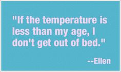 funny ellen degeneres quotes - mine would be the opposite. If the temperature is more than my age, I don't get out of bed. Lol, Haha Funny, Hilarious, Funny Stuff, Funny Things, Funny Cats, Farts Funny, Random Stuff, Funny Drunk