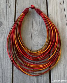 Desert Sun yarn-wrapped necklace / tribal / hippie / bohemian / fiber / thread-wrapped