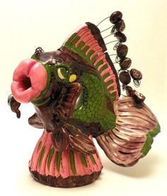 Teapot Ceramic Fish Decorative Swarthy Parrotfish by JudyBFreeman, $250.00