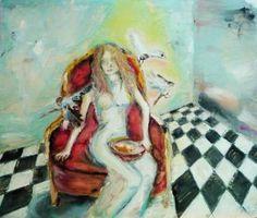 "Saatchi Art ""Alice from Wonderland in Twin Peaks"" #art. #oil painting # surrealism"