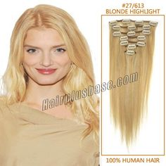 HPB 26 Inch #27/613 Blonde Highlight Clip In Human Hair Extensions 11pcs #clipinhumanhairextension #blonde