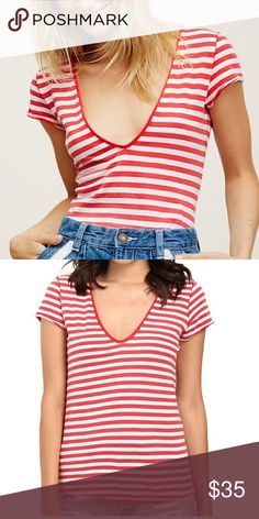 Free People Striped Shirt We the Free 'Avery' Red and White Striped Short Sleeve shirt. No flaws. Free People Tops Tees - Short Sleeve