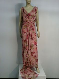 30s Henri Bendel Couture Silk Chiffon Draped Floral Print Gown | From a collection of rare vintage evening dresses at http://www.1stdibs.com/fashion/clothing/evening-dresses/