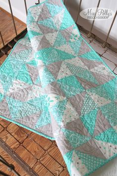 Baby Crib Bedding- Crib Quilt- Modern Baby Quilt- Triangle Quilt- READY TO SHIP- gray and mint by MissPollysPieceGoods on Etsy https://www.etsy.com/listing/240989870/baby-crib-bedding-crib-quilt-modern-baby