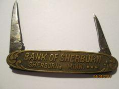 Vintage Griffon Cutlery Knife, Two Blade Knife, Advertising Knife, Bank of Sherburn, Sherburn, Minn, Pocket Knife, by chulapoe on Etsy