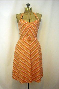 Sundress Orange Striped Chevron 1990's Halter by SoleilVintageShop