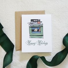 Pretty watercolor holiday card with a home for the holidays theme. Can buy single card or sets. #dodeline #charleston #shopsmall #homefortheholidays