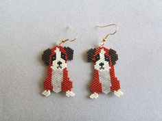 The Beading Gem's Journal: Whimsical Dog Beaded Earrings by DSBeadedCrocheted...