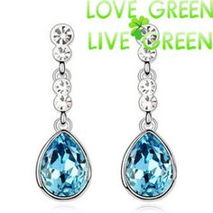 Online Shop 2014 marca casamento grátis frete 18 K ouro branco cristal austríaco lágrima água brincos moda jóias 80094 para as mulheres de noiva|Aliexpress Mobile