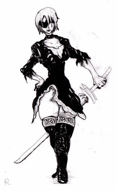 My drawing of how I remembered 2b, turned into a manga style.