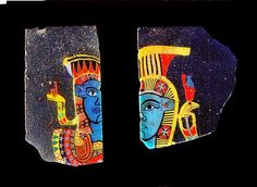 Glass fragments, two half faces of the goddess Hathor. These tiny fragments, possibly inlays from shrines and furniture, were made from polychrome glass canes laid...