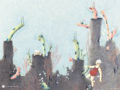 Detail of an illustration from the children's book Pool | Ages 2-5 | { 1000 Books Before Kindergarten