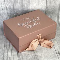 Beautiful bride keepsake box/bride memory box/ bride gift box Elegant bride gift box a lovely way to present a gift to your bride Bridal Boxes, Wedding Gift Boxes, Wedding Gifts, Wedding Keepsake Boxes, Wedding Souvenir, Wedding Fun, Wedding Favors, Bride Box Gift, Bride Gifts