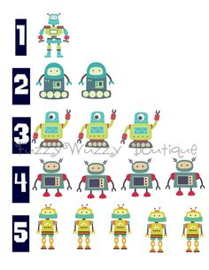 123 Robots  Printable Children's Art -Can be Personalized if you prefer