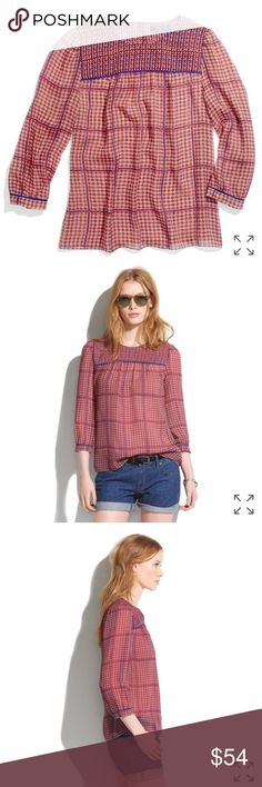 Madewell $110 silk peasant blouse in retrogrid Like new no flaws! Madewell Tops Blouses