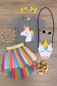 Heather Gray Unicorn Shirt with Rainbow Hi-Low Tutu Skirt Dresses Kids Girl, Little Girl Outfits, Kids Outfits Girls, Little Girl Fashion, Toddler Outfits, Boy Fashion, Little Girls, Tutu Skirts For Girls, Tulle Skirts