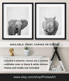 Safari animals nursery wall art, Elephant baby nursery, Baby Rhino, Baby elephant photo, Baby animal prints nursery, Animal art Print/Canvas/Digital