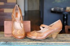 With it's classic look and undeniable comfort, the Miz Mooz Petula maryjane pump is the versatile choice for any season! The asymmetrical strap is refreshingly unique, and we love the diamond patchwork detail on the toe.  Whiskey leather, $119.95. www.eloSShoes.com