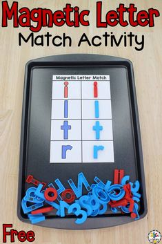 This Magnetic Letter Match Activity is a fun, hands-on way for pre-readers to work on letter recognition, explore letter shapes, and build visual discrimination skills. This interactive resource can be used as an independent activity for preschoolers in any early childhood classroom or homeschool. Click on the picture to get your free magnetic letter match printables and learn more about this alphabet activity! #magneticletters #letterrecognition #lettermatch #lettermatching #preschool