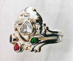 """Custom made 14k yelow and white gold ring, """"The Magic Mushroom"""" featuring heart diamond and birthstones of the family.  Created by hand by Stephanie Long.  http://www.goldcrafterscorner.com/custom"""