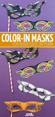 Grab this bundle of mardi gras masks and color-in masks for kids and adults! These cool printable coloring pages include a free sample for you to try it for mardi gras, purim, or halloween. Source by momsandcrafters and me activities Fun Crafts For Kids, Preschool Crafts, Arts And Crafts, Mardi Gras Beads, Mardi Gras Party, Halloween Costumes For Teens, Halloween Diy, Purim Costumes, Costume Ideas