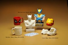 Wolverine Bank, Spiderman Mug, Iron Man Box Ceramic Bisque, Mugs For Men, Pottery Painting, Wolverine, Man Cave, Iron Man, Spiderman, Ceramics, Tableware