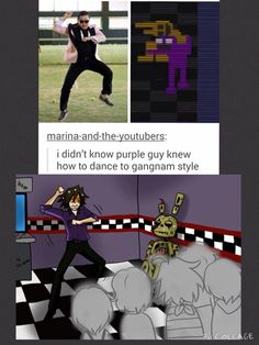 It's simple. When he's scared he dances to show his emotions, therefore he's doing Gangnam Style.