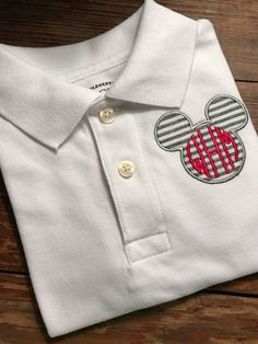 Disney Polo Shirt / Mickey Mouse Appliqued Polo Shirt / available in child's sizes / preppy Mickey M Disney Clothes, Disney Outfits, Preppy Boys, Fancy Fonts, Brand Me, Seersucker, Gingham, Mickey Mouse, Two By Two
