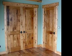 These two panel doors are made from reclaimed chestnut wood. Note also the grain match, the same board is used to make the panel on the top and bottom of the divider--true craftsmanship.