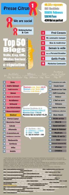 [infographie] Top 50 des blogs de SMO selon leur e-réputation - #infographics