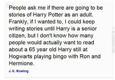 """I'd still read it!"" said the entire Harry Potter fandom."