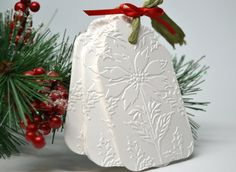 Embossed Poinsettia Tags Set of 10 Christmas by MoreFriendsAndCo