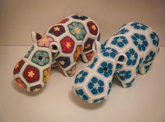 Knuffels - Op bestelling: Gehaakt nijlpaard (kies uw kleuren) - Een uniek product van Toshke op DaWanda